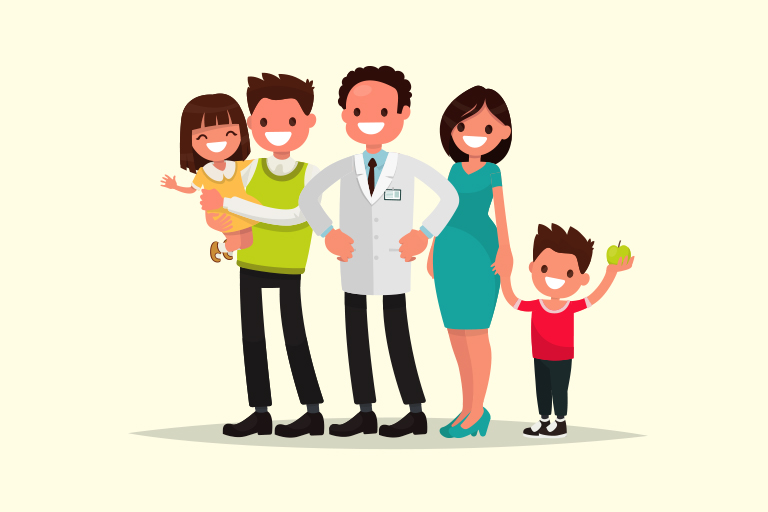 Dentist with happy family after dental visit