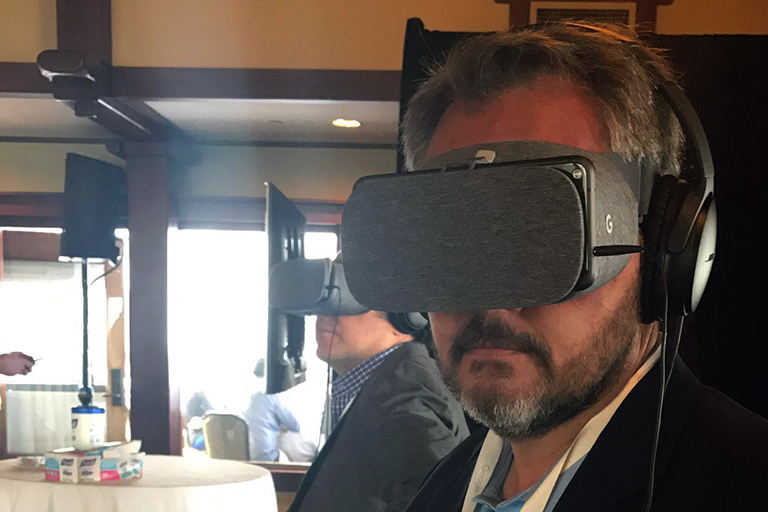 Tim Kelley, TNT co-founder, with VR headset at Google
