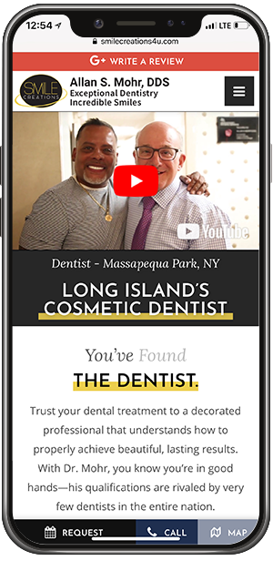 Dr. Allan S. Mohr's custom dental website on an iPhone X